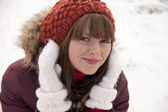 Portrait of pretty smiling girl in winter — Stock Photo