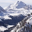 Maroon Bells With Snow - Stock Photo