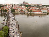 Charles Bridge with Pedestrians — Stok fotoğraf