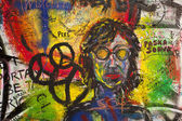Graffiti On The Lennon Wall — Stock Photo