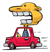 Crazy driver speeding up — Stock Vector