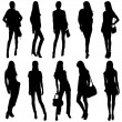 Fashion Model Silhouettes — Stock Vector