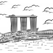 Vector illustration of Singapore's Marina Bay Sands — Stock Vector