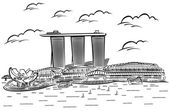 Vector illustration of Singapore's Marina Bay Sands — Vettoriale Stock