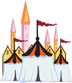 Circus tents are standing on the background of the towers of the castle — Stock Vector