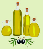 Olive, bottle, oil — Stock Vector