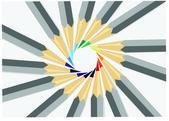 Pencils in a circle — Stock Vector