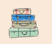 Pile of suitcases — Stock Vector