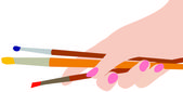 The hand holding the brush — Stock Vector