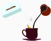 Cup of coffee with milk — Stock Vector