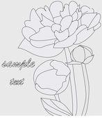 Peony flower, monochrome — Stock Vector