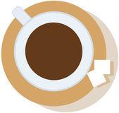 Xícara de café sobre os nódulos de pires, duas de açúcar — Vetorial Stock