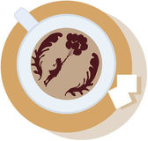 With a cup of coffee, foam, on the saucer two lumps of sugar — Stock Vector