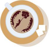 ソーサーに泡、コーヒーのカップと砂糖の塊 2 — ストックベクタ