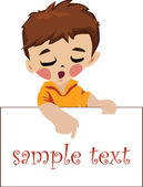 Little boy reads the inscription on the poster — Stock Vector