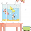 From the aquarium standing on the table jumped one of the four fish in a bucket — Stock Vector