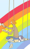 Artist paints the rainbow broad brush sitting on the rafters with a cat — Stock Vector