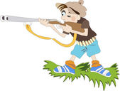 Boy with the gun stands on the edge of the meadow — Stock Vector