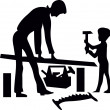 Stock Vector: Father and son are working with tools