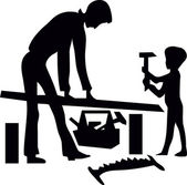Father and son are working with tools — Stock Vector
