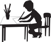 Boy is sitting on the chair at the table draws on a sheet of paper — Stock Vector