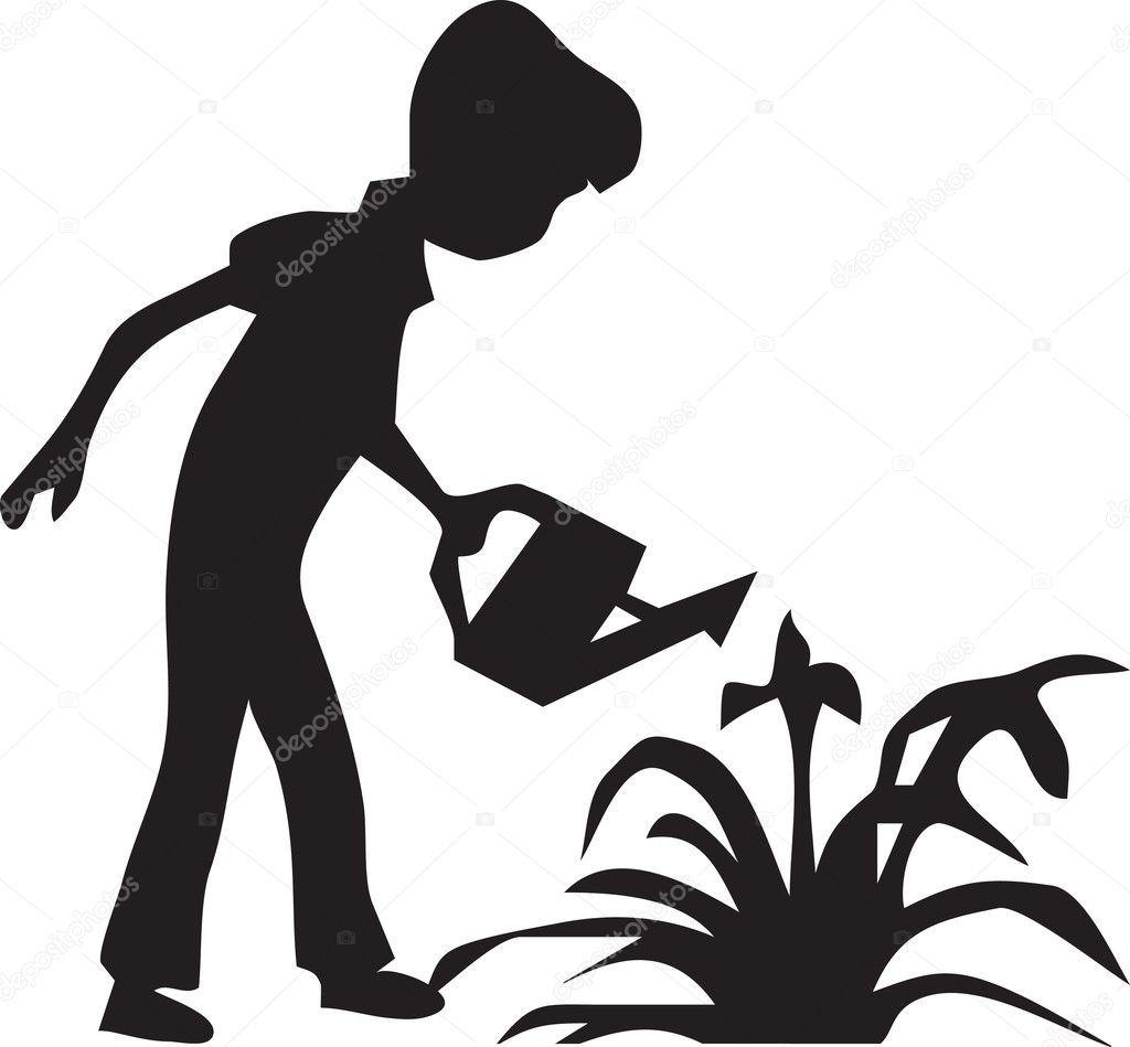 Boy watering the flowers — Stock Vector #9513764