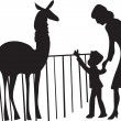 Mother and son walking around the zoo, looking at the animals - Stock Vector