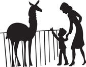 Mother and son walking around the zoo, looking at the animals — Stock Vector