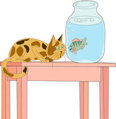 Cat is sitting on the table and looking through the glass wall of the banks with water by floating in it crucian — Stock Vector