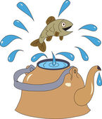 Fish jumps out of the kettle with water splashing water — Stock Vector