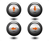 Pijlen ronde knop — Stockvector