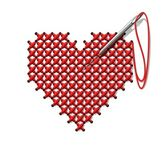 Hand-made heart — Stock Vector