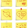 Stock Vector: Set of notes to Valentine day