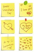 Set of notes to Valentine day — Stock Vector