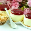Pudding with fruit — Stock Photo