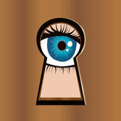 Eye in keyhole — Stock Vector