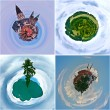 Ecological concept nature and city on the earth palnet. - Stock Photo