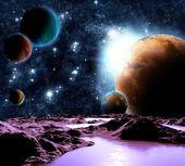 Streszczenie obraz planety z wody. znajdź nowych źródeł i technologii — Zdjęcie stockowe