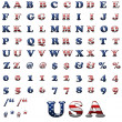 Exclusive collection letters set with american stars and stripes — Stock Photo #9356014