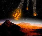 Attacco dell'asteroide sul pianeta nell'universo. ho astratto — Foto Stock