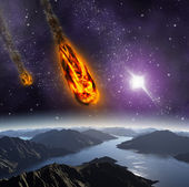 Attaque de l'astéroïde sur la planète dans l'univers. j'ai résumé — Photo