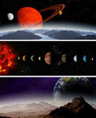 Illustrated diagram showing the order of planets in our solar sy — Stock Photo