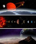 Ilustruje diagram przedstawiający porządek planet w naszej słonecznej sy — Zdjęcie stockowe