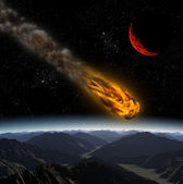 Attack of the asteroid on the planet in the universe. Abstract i — Stock Photo