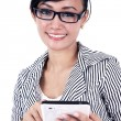 Smiling businesswoman with iPad tablet — Stock Photo #10005102
