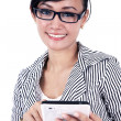 Smiling businesswoman with iPad tablet — Stock Photo