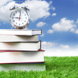 Foto Stock: Alarm clock and stack of books