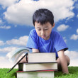 Reading books outdoor — Stock Photo