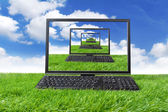Computer on the green grass — Stock Photo