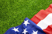 American flag on green grass — Stock Photo